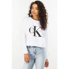 Calvin Kleins Ck Cropped Logo Sweatshirt ($69) ❤ liked on Polyvore featuring tops, hoodies, sweatshirts, cotton crop top, crew neck tops, crew neck crop top, cotton crew neck sweatshirt and crew neck sweatshirts