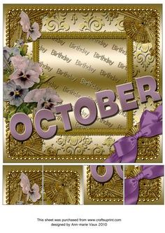 October Pansy Gold Birthday 8inch Picture Sheet - CUP169383_10 | Craftsuprint