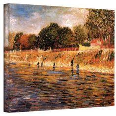 Vincent Van Gogh Banks Of The Seine Wrapped Canvas Art, Size: 24 x 32, Blue