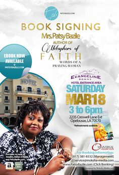 Flyer Design x e-Flyer) for Author Mrs. Patsy Bazile book signing event, designed by Moksha Media of Dallas - Daymond E. Booking Information, Book Signing, Web Development, Flyer Design, Dallas, My Books, Author, Branding, Faith
