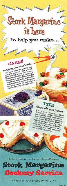 Whip all kinds of scrumptious cakes and pies with the the help of Stork #vintage #ad #food #margarine