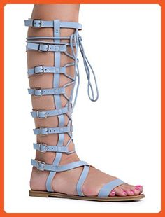 Athena-902A Lace Up Colorful Printed Knee High Flat Gladiator Sandals - Sandals for women (*Amazon Partner-Link)