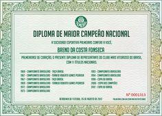 Diploma de Maior Campeão Nacional - Parabéns Palmeiras ... 98 anos