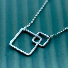 Handmade Silver Squared Necklace. $70.00, via Etsy.  Nekedesigns you know me all too well! I love this!!!!