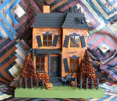 mini halloween glitter house