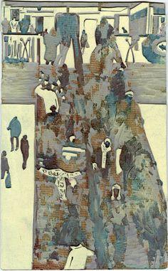 Graham Firth - lino cut away - escalator-print-part-27.jpg (619×1000)