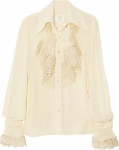ShopStyle: Anna Sui Crocheted crepe shirt