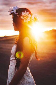 Girl } Photography | flower crown | beach | sunset
