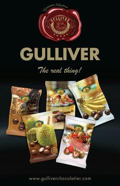 Gulliver Chocolatier, mini packs of premium chocolate covered freeze dried fruits.