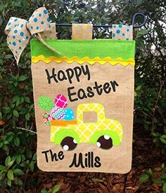 Easter Garden Flag |Easter Decoration| Burlap Easter Flag| Personalized Easter Garden Flag| Easter Truck Flag|Truck Flags|Happy Easter Flags. Easter Burlap Garden flag,Easter Pickup Truck with eggs. This adorable Burlap flag with pickup truck full of eggs & Personalized just for you will look beautiful in your yard or garden ! These flags make great gifts too! Made from quality burlap & hemmed on all 4 sides with Easter truck applique. Please choose from customization menu & make note of...