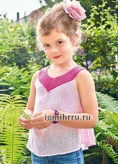 Розовый летний топ для девочки 5-9 лет. Вязание спицами