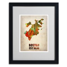 Boston Watercolor Map by Naxart Matted Framed Painting Print