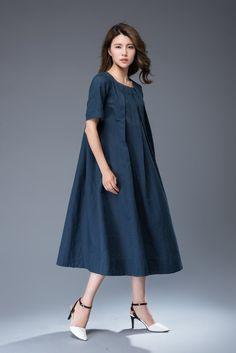 564783e30a1 Linen Dress Versatile Casual Blue Linen Midi Length Boho Chunky Jewelry