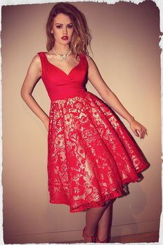 Red Formal Dresses for Women Pretty Dresses, Beautiful Dresses, Dresses Dresses, Vintage Outfits, Vintage Fashion, Formal Dresses For Women, Weekend Style, Pin Up Style, Dress With Bow