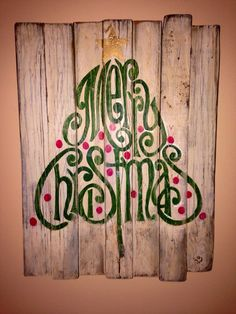 Rustic Wood Christmas Sign / Merry Christmas Tree Decor by PalletsandPaint on Etsy https://www.etsy.com/listing/167559168/rustic-wood-christmas-sign-merry