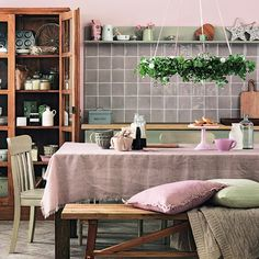 Muted country kitchen-diner with soft textiles | How to decorate with neutrals | PHOTO GALLERY | Ideal Home | Housetohome.co.uk