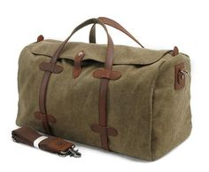 Waxed Canvas Travel Bag Duffle Bag Holdall with Leather Trim AF12