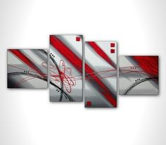Red and gray abstract painting - contemporary art - multi panel modern painting on stretched canvas ready to hang - 54 in - wall art. $169.00, via Etsy.