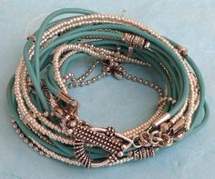 Turquoise Leather Wrap Bracelet// Turquoise by DesignsbyNoa