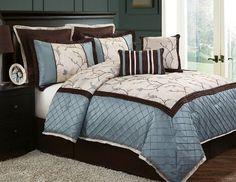 VCNY Alexandria8-Piece Queen Comforter Set, Blue VCNY…