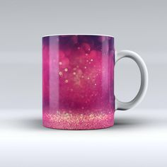 The Dark Pink Shimmering Orbs of Light ink-Fuzed Ceramic Coffee Mug from DesignSkinz
