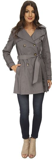 $107, Charcoal Trenchcoat: DKNY Double Breasted Hooded Trench Coat. Sold by 6pm.com. Click for more info: https://lookastic.com/women/shop_items/256707/redirect