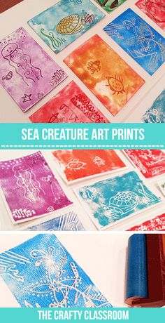 Sea Creature Art Prints: This is a simple (sorta messy) and fun way to create art from your children's drawings. Full photo tutorial: http://thecraftyclassroom.com/crafts/ocean-crafts-for-kids/ocean-creatures-art-prints/