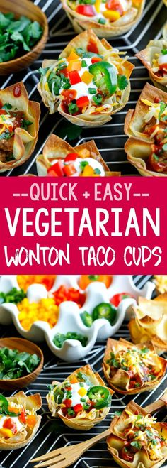 Vegetarian Wonton Taco Cups are so easy to make and can be loaded up with all your favorite taco toppings! We love ours with refried beans, salsa, shredded cheese, sour cream, jalapeños, and guacamole. #wontons #appetizer #party #snack #taconight #tacotuesday #vegetarian #healthy