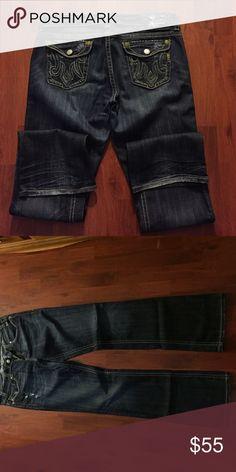 """MEK women's denim """"Oaxaca"""" tall 36"""" Lightly destructed, dark denim MEK jeans gently used MEK Jeans Boot Cut"""