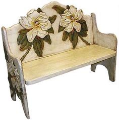 The perfect combination of beauty and utility, this stunning magnolia bench will add color and charm to any seating area. Hand carved and hand painted by highly skilled artisans in central Mexico, these benches are heirloom-quality, to be passed down from one generation to the next. So summon the interior designer from within, and create a fabulous new space in your home with this striking magnolia bench as the centerpiece.