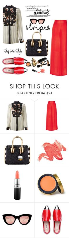 """stripe moment"" by nataskaz ❤ liked on Polyvore featuring Givenchy, Rosetta Getty, MCM, MAC Cosmetics, Jane Iredale, Quay, D&G and Iman"