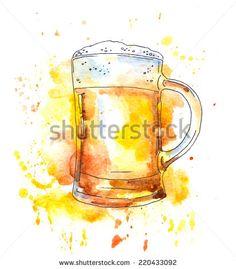 Beer glass. Watercolor