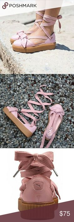 Puma | Fenty x Rihanna Bow Creeper Sandals A twist on the beloved classic Creeper from Rihanna's inaugural footwear drop for PUMA. This Creeper Bow Sandal takes the Creeper sole and creates a spring espadrille style look with the laces and bow details. Also, taking inspiration from the fans, who uniquely used Creeper's laces as added accessories with their Creepers, you can lace your Creeper Bow Sandals all the way up your oh-so-sexy ankle.  - NWOB Puma Shoes Espadrilles