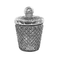 Charm your retro-chic bedroom or bathroom with this stunning silver-finished jar. Gorgeously fashioned from glass, this Charley Container with Lid features a lovely vintage-inspired design. Prop this s...  Find the Charley Container with Lid, as seen in the Shabby Chic Collection at http://dotandbo.com/collections/shabby-chic?utm_source=pinterest&utm_medium=organic&db_sku=109667