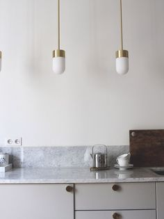 Let there be light. Over the countertop … Love my custom made lamps from Rubn lightning!