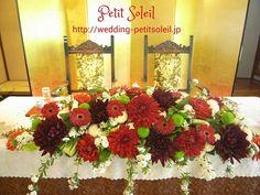 和のメインテーブル装花 wedding table flower