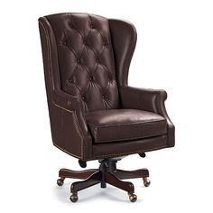 Newbury Executive Office Chair: solid-wood frame, leather $799