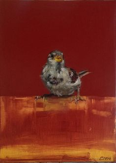 Eva de Visser – Title: Mus (Sparrow). Oil on wood. W: 18 cm x H: 24 cm. 2014.