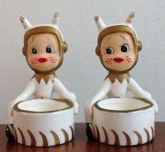 Howard Holt Pixie Elf christmas pixie elf candle holders tea lights vintage