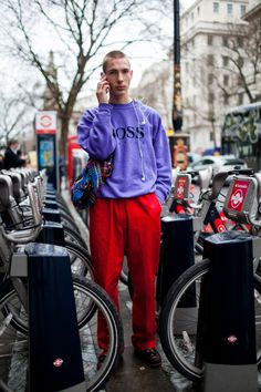 Street style at London Fashion Week Men's fall 2017.