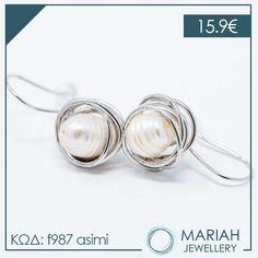 Διαχρονικά σκουλαρίκια με #μαργαριτάρι!!💜  💌Τα μαργαριτάρια ενισχύουν την σοφία και δρούν κατα της μελαγχολίας!  #mariahjewellery #mariah #jewellery #cathrene #angelobaretta #diaforoisxediastes Measuring Spoons, Jewelry, Jewlery, Jewerly, Schmuck, Jewels, Jewelery, Fine Jewelry, Jewel