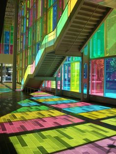 At the Palais de Congres...stairs and stained glass