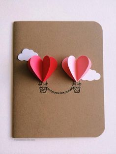 ** Featured in February 2015 issue of UKs Craftseller Magazine** Perfect for that special couple or simply for that special someone. RED/PINK hot air balloons ~ one 4.25in x 5.5in card *blank inside* ~ one shimmer envelope If you would like to customize this card with a message,