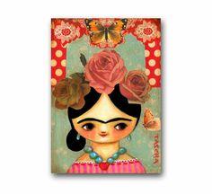 ORIGINAL acrylic painting FRIDA Kahlo roses MIXED media collage on canvas folk art by tascha. $90.00, via Etsy.