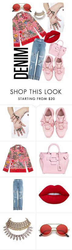 """On glam off the clock"" by xoxoyani on Polyvore featuring Puma, Gucci, Roger Vivier, SJYP, Lime Crime and WithChic"