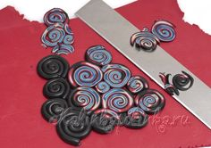 cut away thin layers of polymer clay into small pieces.