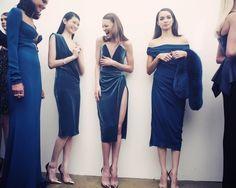 Cushnie Et Ochs, models wearing blue velvet dresses