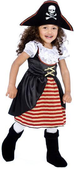 Déguisement  pirate enfant fille : Ce déguisement de pirate pour fille se compose d'une robe et d'un chapeau (chaussures et collants non inclus). La robe noire possède des volants blancs satinés et en...