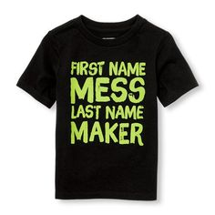 Toddler Boys Short Sleeve Neon 'First Name Mess Last Name Maker' Graphic Tee