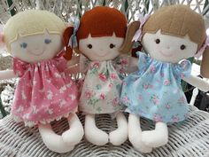 Dandelion Wishes - 3 little girls - made using the Elf Pop Olive doll Sewing Pattern